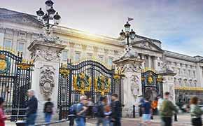 The gates of Buckingham Palace.