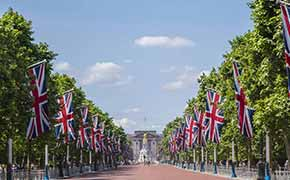 Flags lining the entrance to Buckingham Palace.