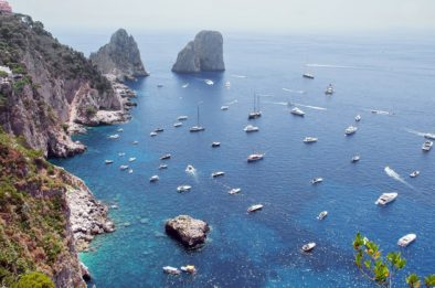 Luxury yachts and private boats off the coast of capri.