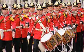 The Queens guards on parade in London.