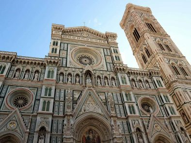 The famous Duomo in Florence, known as the Cathedral of Santa Maria del Fiore with intricate design.