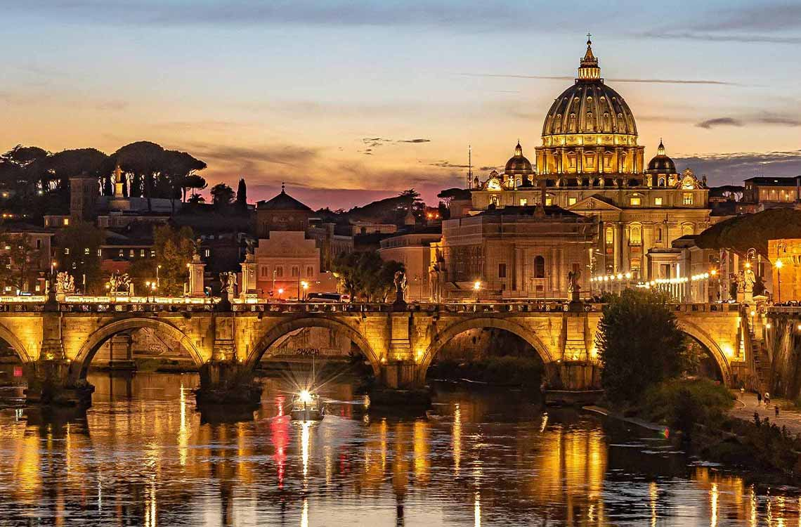 A Vatican tour at night with your private guide and with less crowds in the evening.