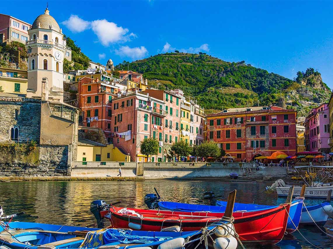 colorful harbor and fresh seafood in Cinque Terre.