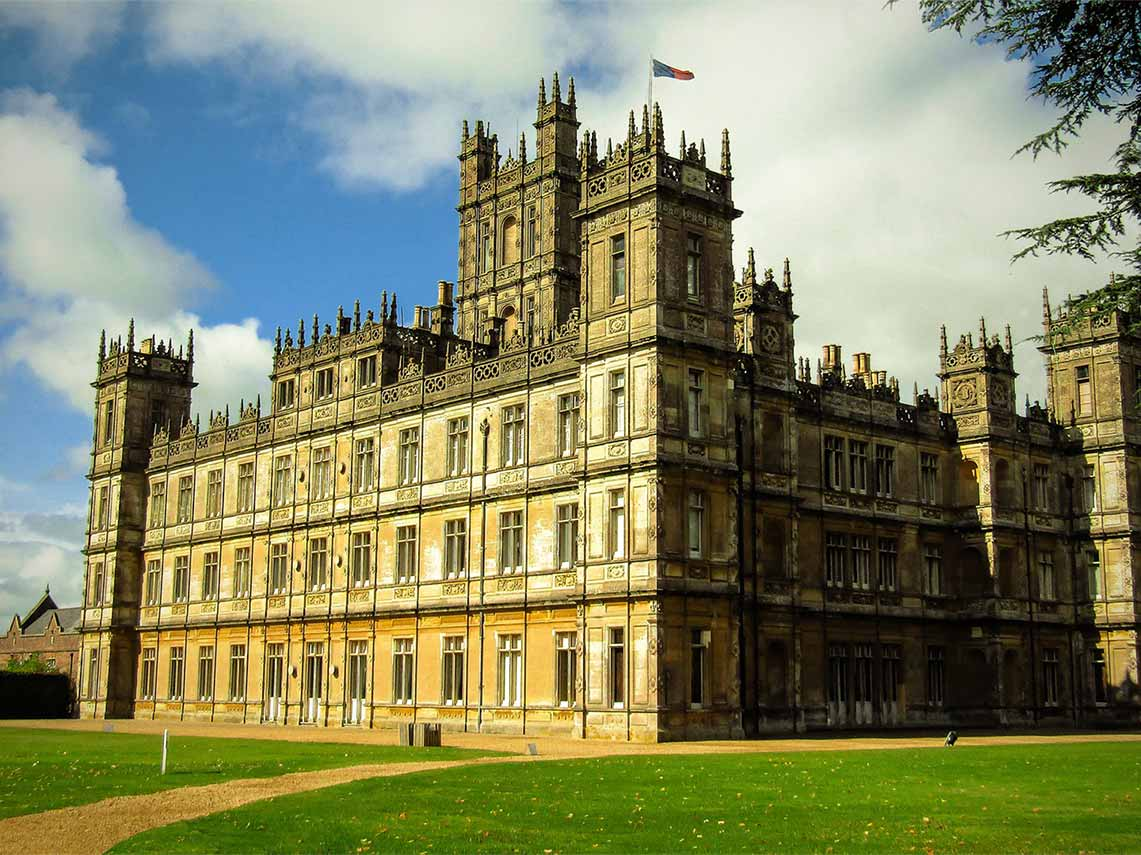 Highclere Castle which was the setting for the tv show Downton Abbey.