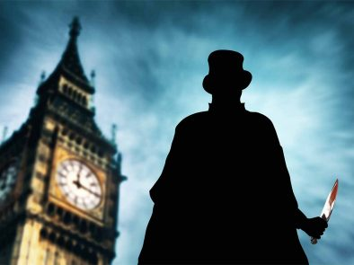 Silhouette of jack the ripper standing in front of Big Ben.