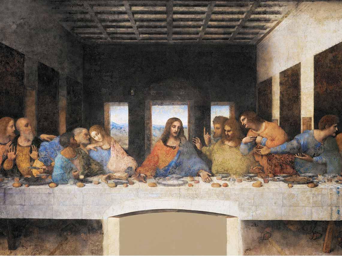Da Vinci's famous last supper painting in the Santa Maria delle Grazie