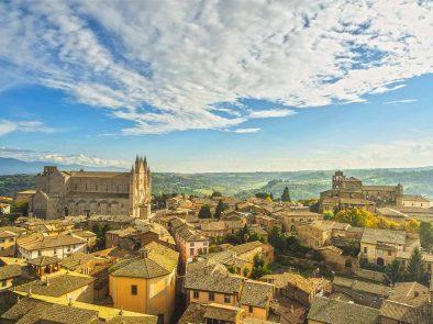 Visit medieval buildings in Orvieto, Umbria.
