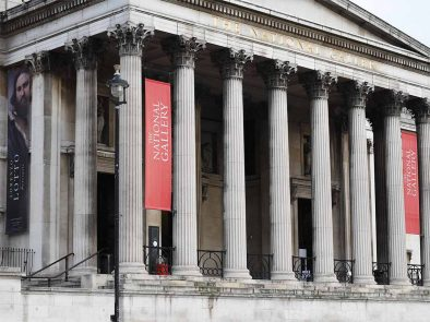 guest at the columns outside the national gallery in London to begin their tour.